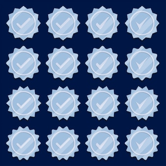 Set of silver check mark medal icons.