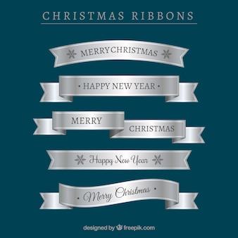 Set of silver christmas ribbons