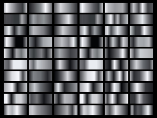 Set of silver foil texture background. metal gradient template.
