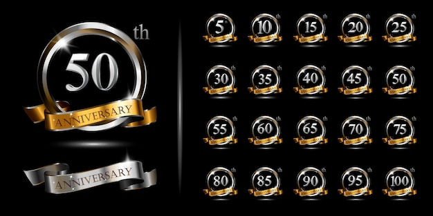 Set of silver and gold anniversary logo, vector celebration design with ring and ribbon.
