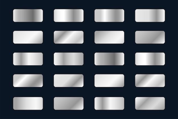 Set of silver gradients, platinum background swatches.