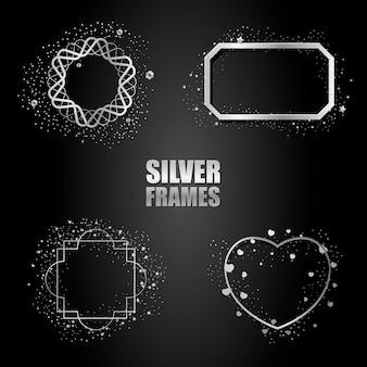 Set of silver metallic frames