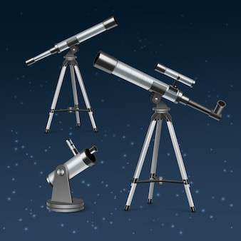 Set silver optical telescopes on stand and tripod, illustration of astronomical instruments isolated on blue star background