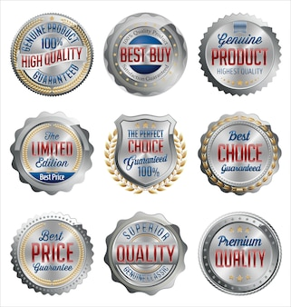 Set of silver retail badges
