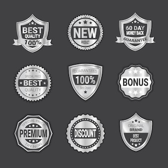Set of silver shopping badge sale or high quality shields emblem isolated