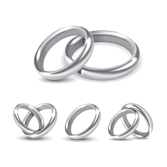 Set of silver wedding rings isolated on white