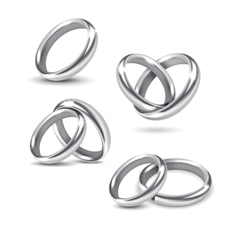 Set of silver wedding rings  on white background