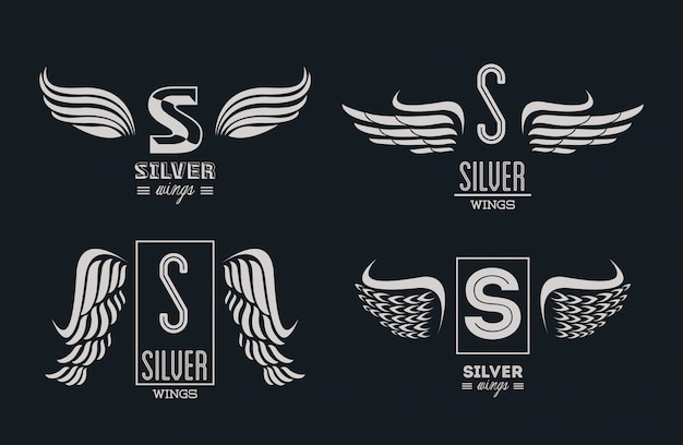 Set of silver wings emblems