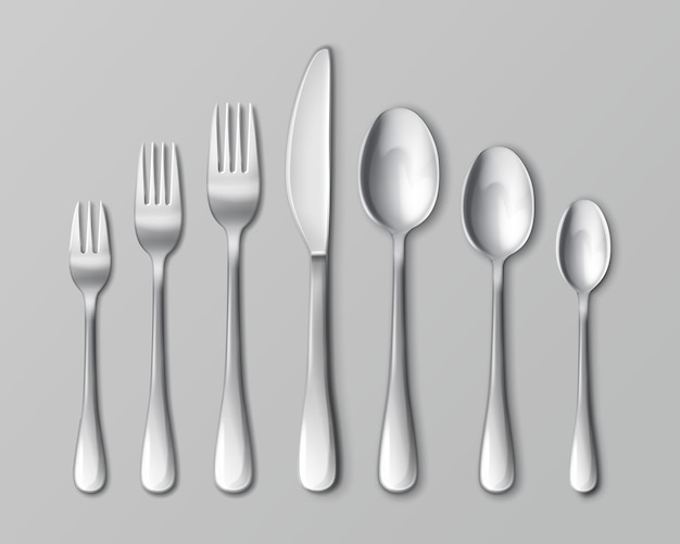 Set of silverware isolated