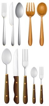 Set of silverware on white background