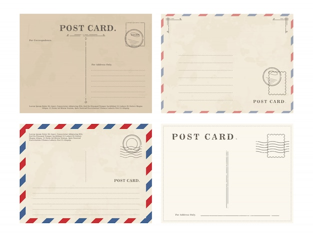 Set of simple blank postcards