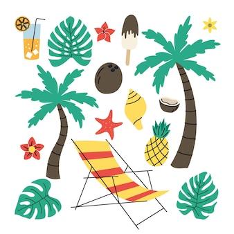 Установите простые элементы на тему отпуска. абстрактная квартира. отдельный на белом фоне