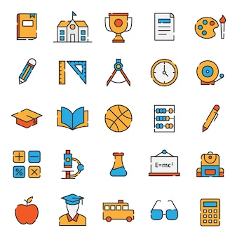 Set of simple filled line education icon