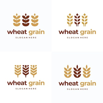 Set of simple grain wheat logo concept, agriculture wheat logo template vector icon
