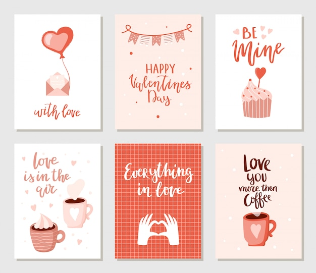 Set of simple hand drawn valentines cards.