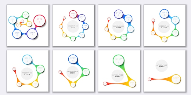 Set of simple infographic templates with marketing icons on white background.