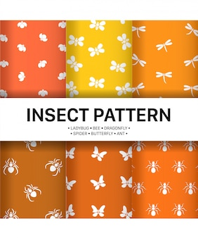 Set simple insect pattern premium