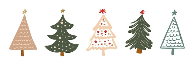 Set of simple minimalist christmas tree hand drawn childish doodle festive new year collection