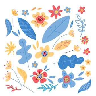 Set of simple minimalistic colorful flowers
