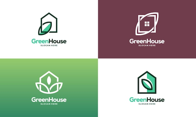 Set of simple modern outline green house logo designs concept vector, eco real estate logo designs symbol icon