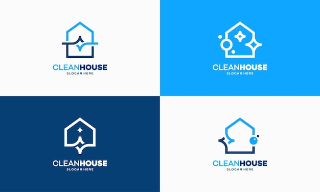 Set of simple outline clean house logo designs concept, cleaning service logo vector