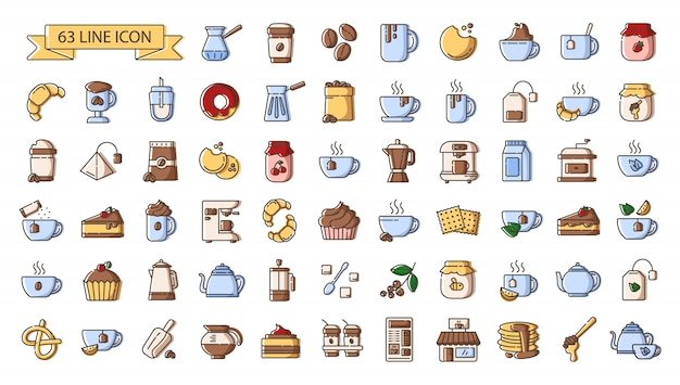 Set of simple outline color icons - tea and coffee drinks, coffee making  equipment, kitchenware, hot beverages, sweet food for breakfast