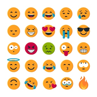 Set of simple round yellow emoticons