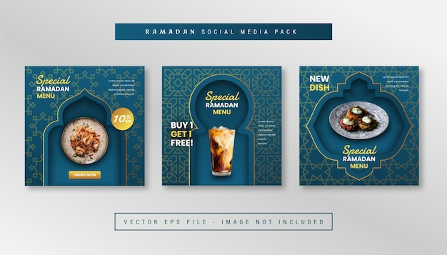 Set of simple square banner with ramadan food theme for for instagram, facebook, carousels.