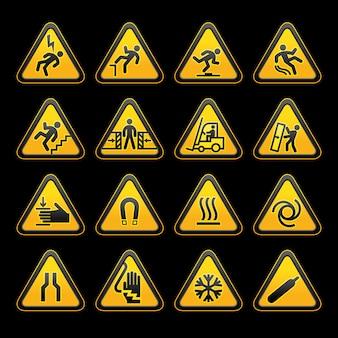 Set simple triangular warning symbols hazard signs