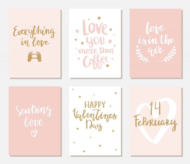 Set of simple valentines cards with lettering.