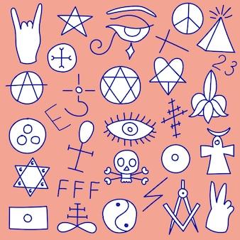 Набор зловещих символов сатанинского оккультизма дьявольские мистические магические знаки масонство