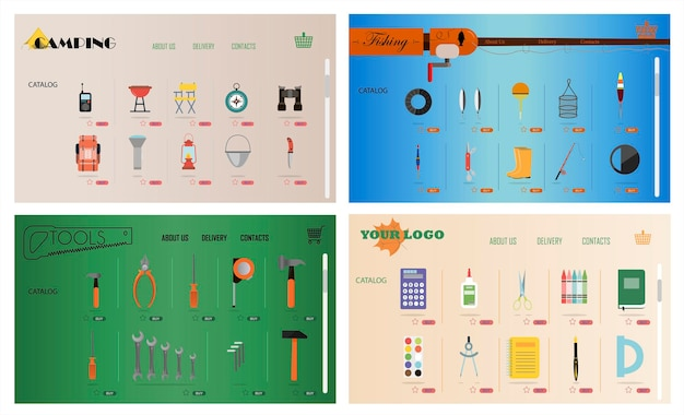 A set of sites for online stores of fishing camping construction tools stationery vector cartoon