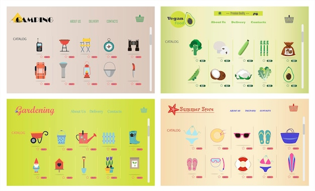 A set of sites for online stores of gardening camping beach goods vegetarian food vector cartoon