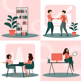 Set situations in office life, business people