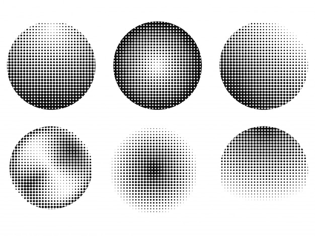 Set of six abstract halftone effect design elements, creative raster dots patterns collection in black and white.