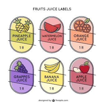 Set of six beautiful stickers for juices