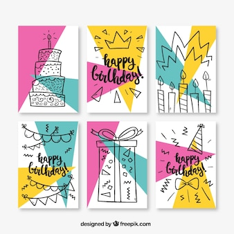 Set of six birthday cards in memphis style
