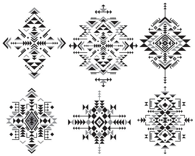Set of six black and white ethnic pattern elements with geometric shapes