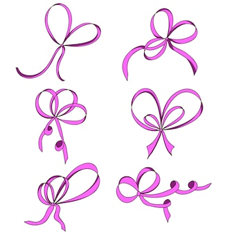 A set of six bows. pink. isolated on white background. hand drawn.  design element for invitation, gift, greeting card, website, etc. vector illustration.