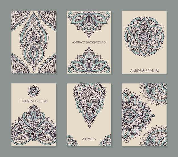 Set of six cards or flyers with abstract henna mehndi ornament.