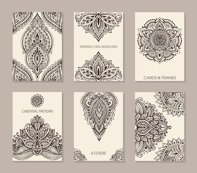 Set of six cards or flyers with abstract henna mehndi ornament