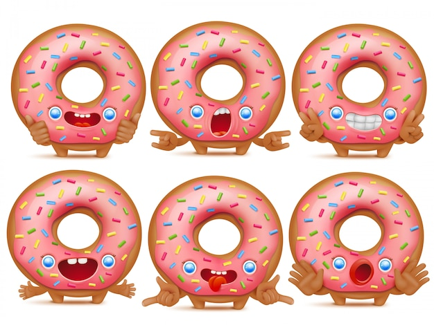 Set of six cartoon emoticon donut characters.