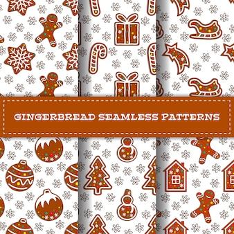 Set of six cartoon gingerbread seamless pattern set