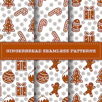Set of six cartoon gingerbread seamless patterns