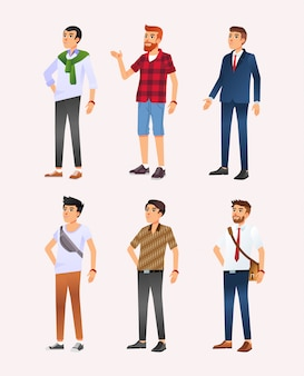 Set of six character design illustration of man with different style from casual to formal