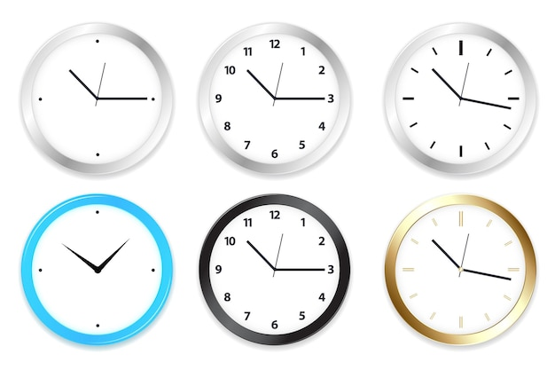 Set of six clocks on wall, isolated on white