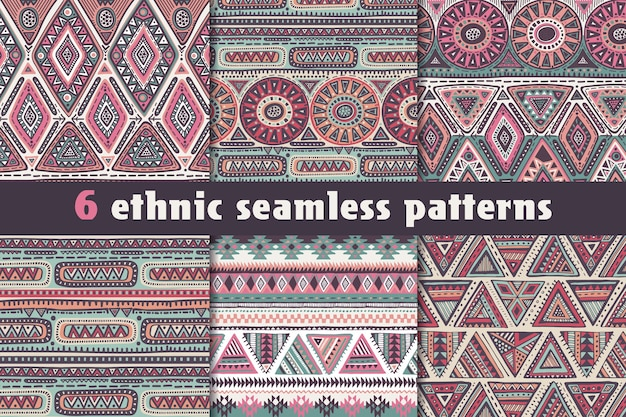 Set of six colorful  seamless patterns with hand drawn ethnic elements