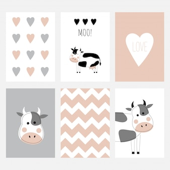 The set of six cute postcards with a cow.