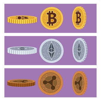Set of six cyber coins blockchain icons vector illustration design