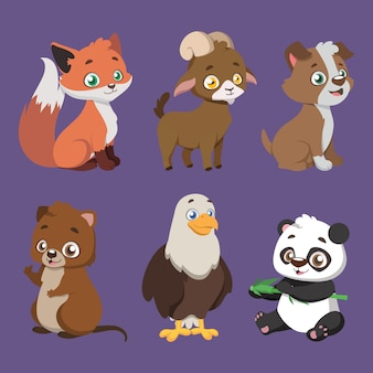 Set of six different animal species